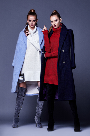 Two sexy woman skinny business style dress wool knitted cashmere coats busy glamour lady casual style secretary diplomatic protocol office uniform stewardess air hostess etiquette colleague friend.