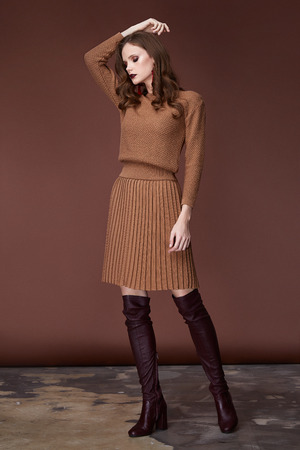 Sexy beauty woman pretty face wear brown knitted suit dress long skinny body shape makeup cosmetic winter collection studio catalog brunette accessory clothes for office casual dress code fashion. Stock Photo - 116331190