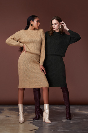Two sexy beauty women pretty face wear beige and green knitted suit  body shape makeup cosmetic accessory bag collection shoes studio catalog brunette clothes for office casual dress code fashion. Stock Photo