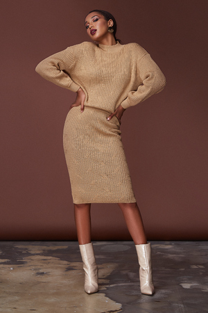 Sexy beauty woman pretty face tan skin wear beige knitted suit dress long skinny body shape makeup cosmetic summer collection studio catalog brunette accessory clothes for office party fashion shoes. Stock Photo