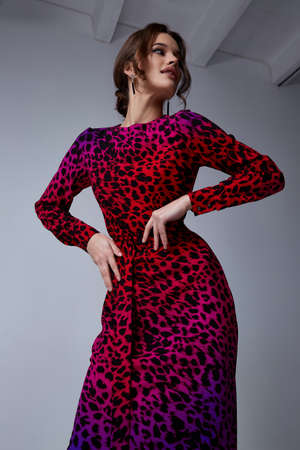 Sexy pretty fashion woman wear animal print red dress casual trend clothes collection catalog brunette hair party style model pose bright makeup beautiful face romantic casual accessory shoes. Stock fotó