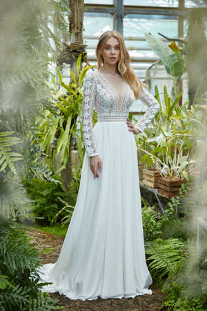 Beautiful woman bride fashion model blond hair bright makeup pretty wear long silk white dress with lace bridal ceremony wedding espousal in blooming romance garden party marriage happy big day. 版權商用圖片 - 159922738