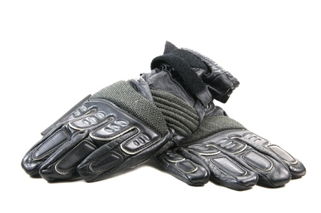 white gloves: Black leather motorcycle gloves with kevlar patches Stock Photo