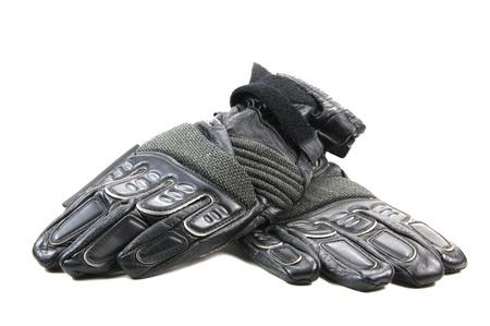 gant blanc: Gants de moto en cuir noir avec des taches de kevlar Banque d'images
