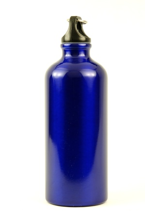 solid blue background: Blue aluminum sports drinking water bottle with cap
