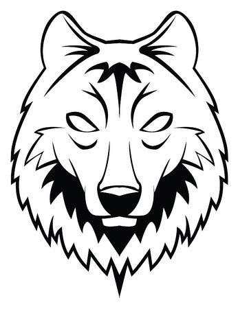 white wolf: wolf head Illustration