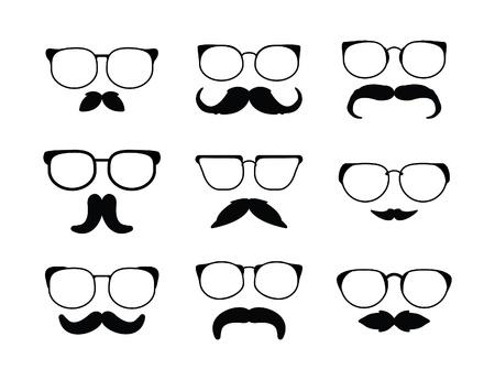 white moustache: moustache eyeglass