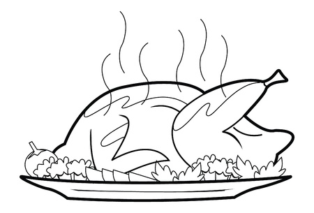 roast dinner: roasted chicken Illustration