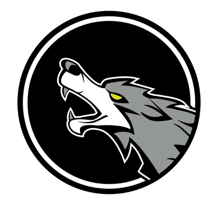gray wolf black and white: wolf emblem Illustration