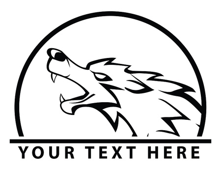 gray wolf black and white: wolf symbol Illustration