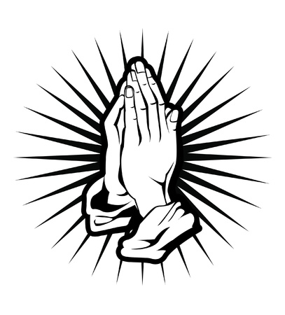 prayer hands: spiritualit� mano Vettoriali