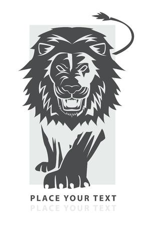 lion drawing: leone a piedi simbolo