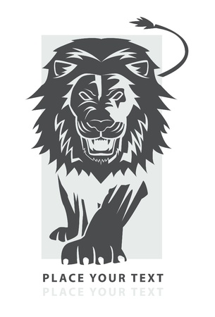 lion dessin: symbole marche lion Illustration