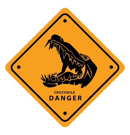 crocodile danger sign Stock Vector - 17444750