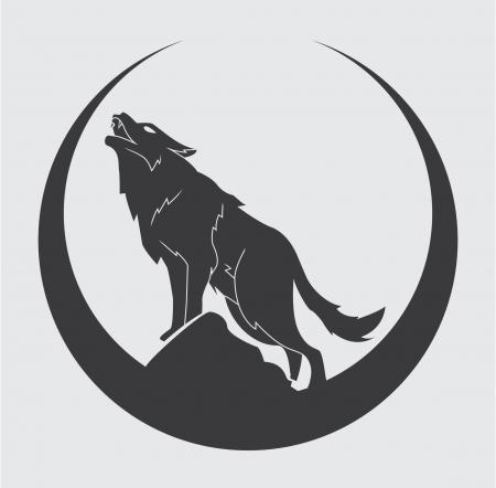 gray wolf black and white: wolf symbol Illustration