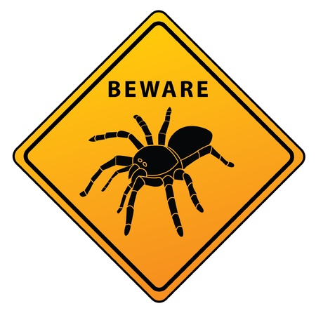 Spider Beware Sign Stock Vector - 17444744