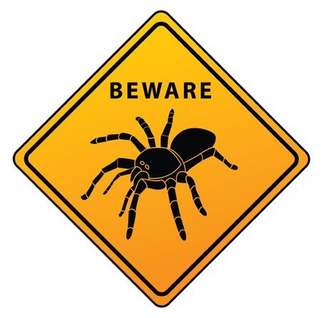 beware: Spider Beware Sign Illustration