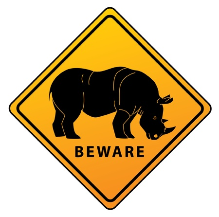 Rhinoceros road sign Vector
