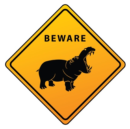 hippo Caution Sign Stock Vector - 17444730