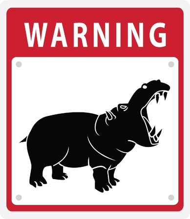 hippo Warning Sign Stock Vector - 17444651