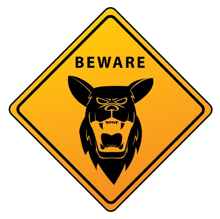 Beware Sign Shepherd Dog Vector