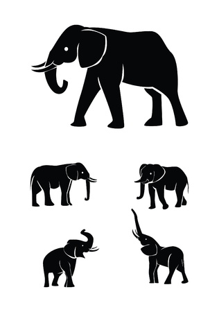 silhouettes elephants: elefante colecci�n de conjuntos de