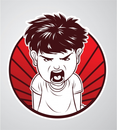 irritated: angry boy