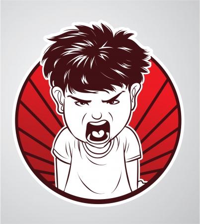 enfant fach�: gar�on en col�re