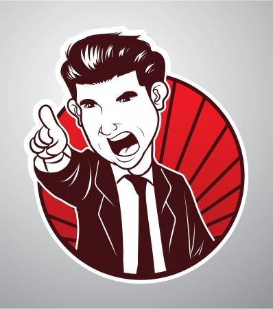 jefe enojado: Hombre de negocios enojado