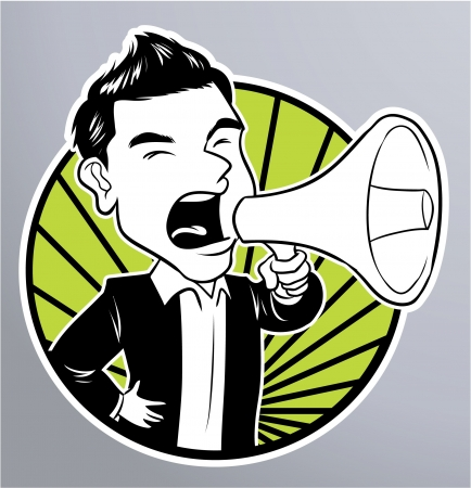 angry boss: businessman megaphone Illustration