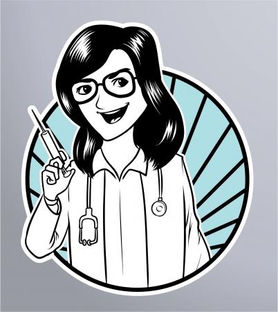 krankenschwester spritze: Krankenschwester Spritze Illustration