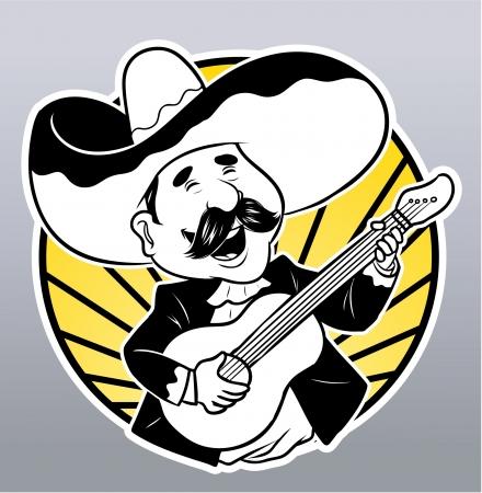 sombrero de charro: Guitarrista feliz Vectores