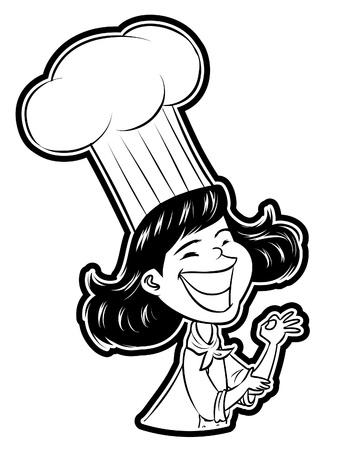 gourmet cooks: Female Chef Illustration