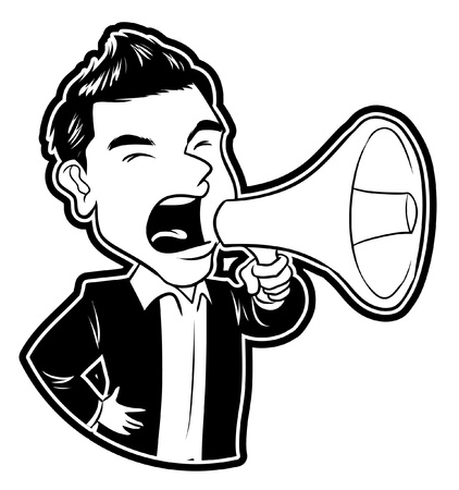loudspeaker: businessman megaphone Illustration
