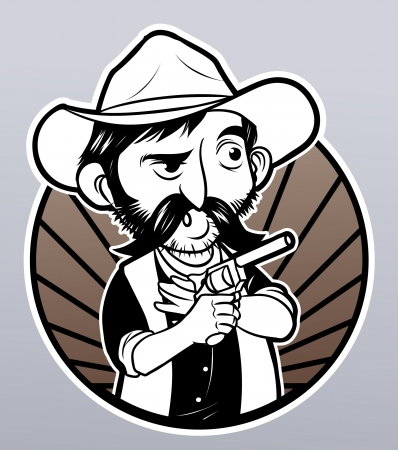 outlaw: cowboy Fighter Illustration