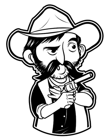 black and white clipart cowboy Fighter Vector