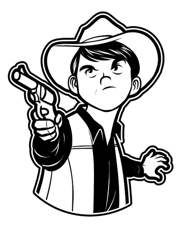 black and white clipart cowboy gun Vector