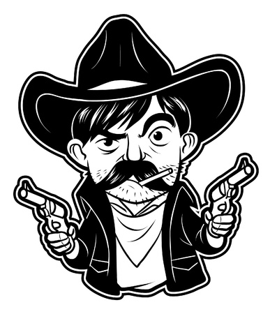 old cowboy: black and white clipart cowboy Illustration