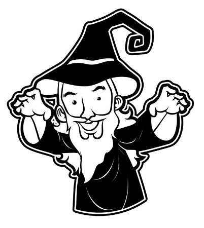 merlin: black and white clipart wizard Illustration