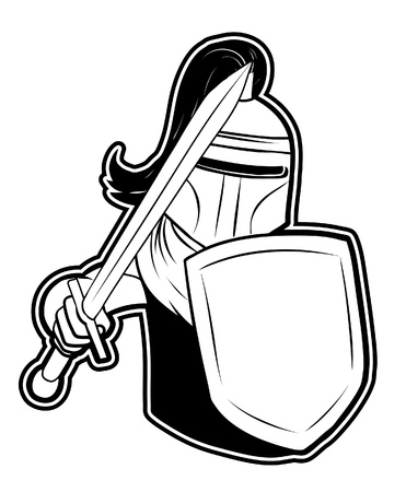 crusades: black and white clipart knight