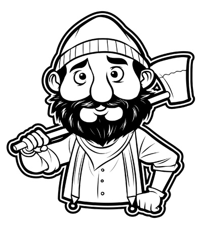 woodcutter: black and white clipart lumberjack