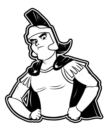 black and white clipart warrior Vector
