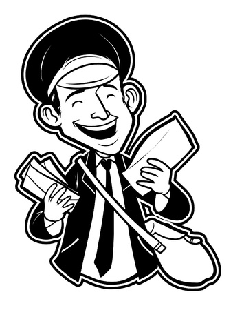 black and white clipart postman Vector