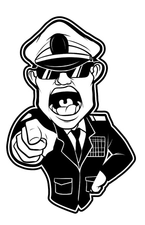 black and white clipart Angry Millitary General Illustration