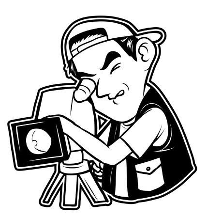 cinematographer: black and white clipart videographer