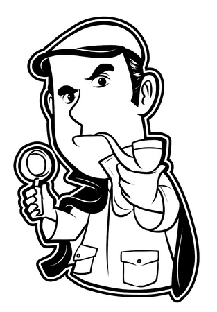 black and white clipart detective  Vector