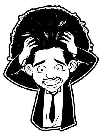 black and white clipart stress man Vector