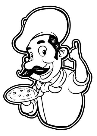 black and white clipart pizza chef Vetores