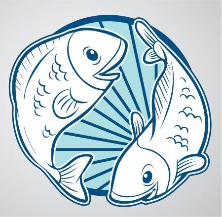 vis: vissen pisces Stock Illustratie