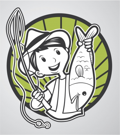 angling rod: man fishing Illustration